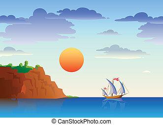 hajó, tenger, táj