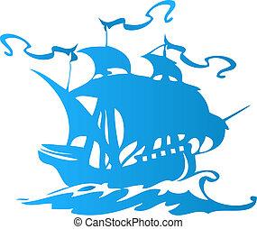 hajó, vagy, vitorlázik, kalóz