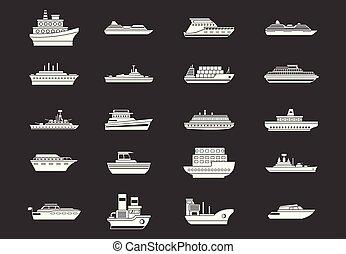 hajó, vektor, állhatatos, szürke, ikon