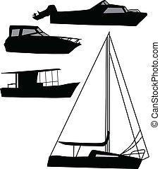 hajó, vektor, árnykép