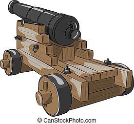 hajó, vektor, öreg, pisztoly