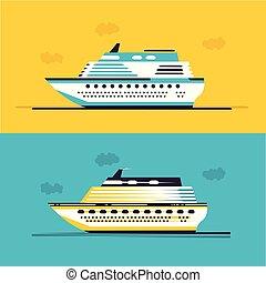 hajó, vektor, cirkáló, ábra