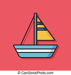 hajó, vektor, csónakázik, ikon