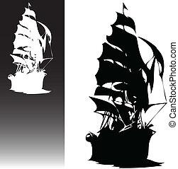 hajó, vektor, fekete, kalózkodik, fehér