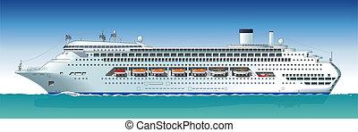 hajó, vektor, hi-detailed, cirkálás