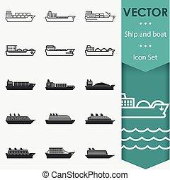 hajó, vektor, ikonok