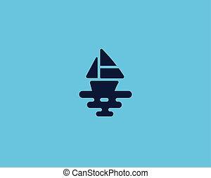 hajó, vektor, logotype., csónakázik, tenger, kreatív, jel