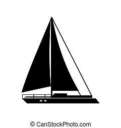 hajó, vektor, vitorlázik, ábra