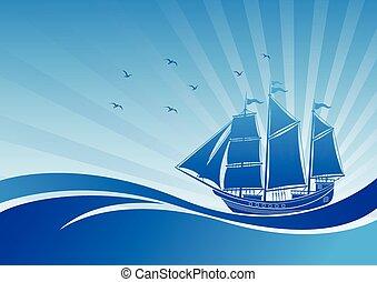hajó, vitorlázás, háttér