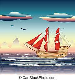 hajó, vitorlázás, tenger