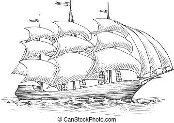 hajó, vitorlázik, csapkodó, vitorlázás, óceán