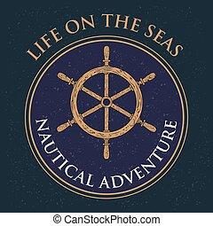 hajóutas, gördít, szüret, címke, tervezés, retro, tengeri, vezetés, kormányzó