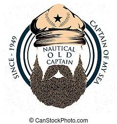 hajóutas, szüret, címke, tengerész, tervezés, retro, tengeri, kapitány
