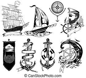 hajóutas, szüret, címke, tervezés, retro, tengeri