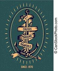 hajóutas, szüret, címke, tervezés, retro, tengeri, vasmacska