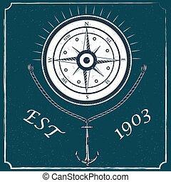 hajóutas, szüret, iránytű, címke, tervezés, retro, tengeri