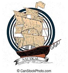 hajóutas, vitorlás hajó, szüret, címke, tervezés, retro, tengeri