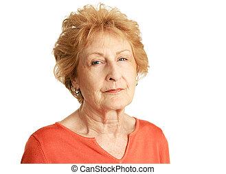 hajú, idősebb ember, -, érintett, piros