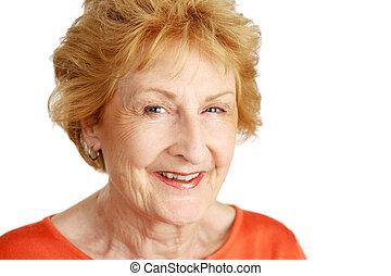 hajú, idősebb ember, closeup, piros