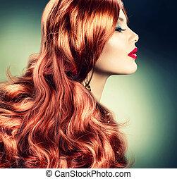 hajú, leány, mód, piros, portré