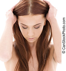 haj, hosszú, szépség