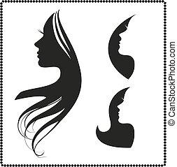 haj, leány, árnykép, hosszú, ikon