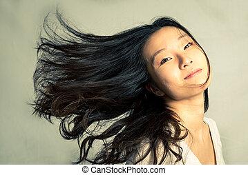 haj, nő, elszelelő, neki