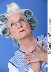 haj, nő, forgócsapok, öregedő, neki
