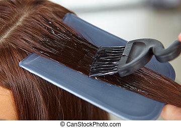 haj, salon., alkalmazás, közül, cosmetics.