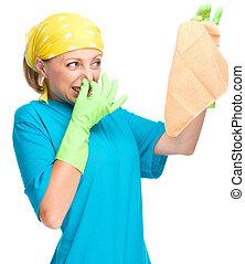 hajadon, nő, fiatal, takarítás