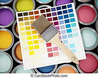 hajcsavaró, szín, festék, ábra, konzervál, guide., 3