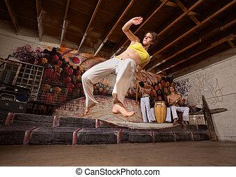 hajlékony, capoeira, nő