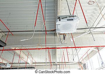 hajlékony, légkondicionálás, és, tűz elleni harc, rendszer, van, elhelyezett, képben látható, a, plafon