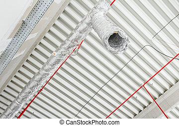 hajlékony, légkondicionálás, és, tűz elleni harc, rendszer, van, elhelyezett, képben látható, a, ceiling.