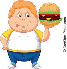 hajlandó, fiú, mosolygós, eszik, kövér