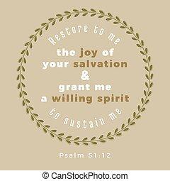 hajlandó, vers, öröm, plasm, én, helyreállít, biblia, lélek, én, üdvözítés, adományozás, -e, tart, nyomdászat