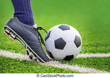 hajtás, egy, focilabda