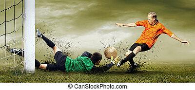 hajtás, közül, foci játékos, és, kapus, képben látható,...