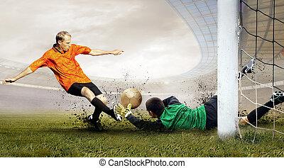 hajtás, közül, foci játékos, és, ugrás, közül, kapus, képben...