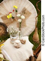 hajtás, mód, kopott, fénykép, dekoráció, esküvő, sikk