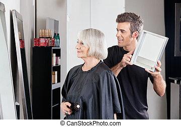 hajvágás, kiállítás, nő, befejezett, hairstylist