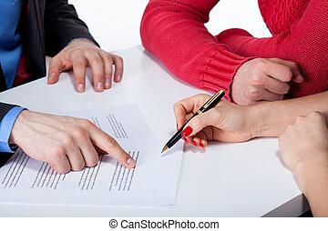 hak, przekonywający, do, znak, niesprawiedliwy, kontrakt