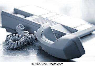 hake, av, telefon, skrivbord