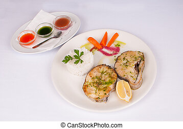Hake with dips