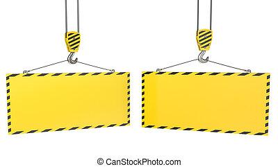 haken, twee, gele, leeg, platen, kraan