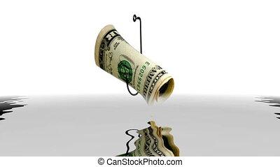 haken, zurückwerfend, dollar, wasser, fische
