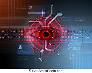hakke, aktivitet, ind, cyberspace