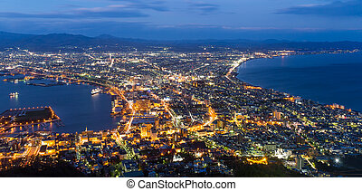 Hakodate City in sunset