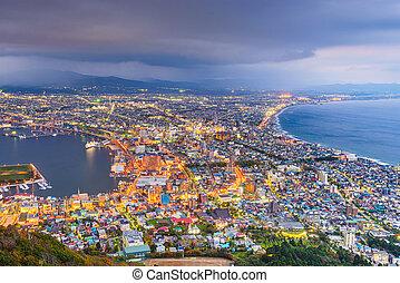 Hakodate, Hokkaido, Japan city skyline from Mt. Hakodate