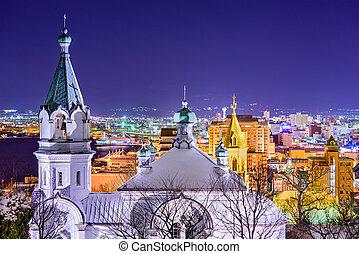 Hakodate, Japan orthodox church and cityscape.